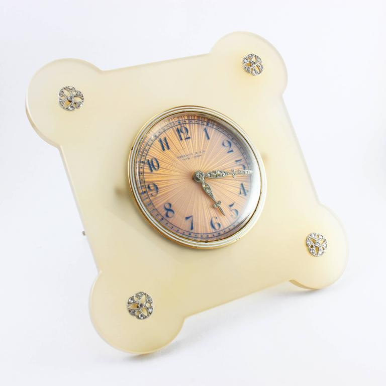 An important Art Deco Tiffany & Co Diamond and Agate Desk Clock, ca. 1920s