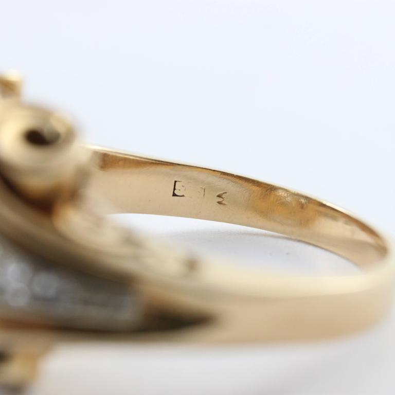 1940s Retro Diamond Gold Cluster Ring In Excellent Condition For Sale In Idar-Oberstein, DE