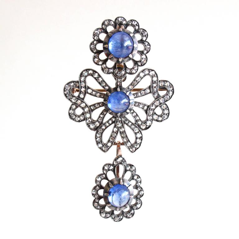 Cabochon Victorian Sapphire Diamond Silver Gold Earrings Pendant Brooch Set For Sale