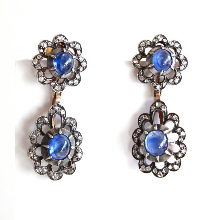 Victorian Sapphire Diamond Silver Gold Earrings Pendant Brooch Set In Excellent Condition For Sale In Idar-Oberstein, DE