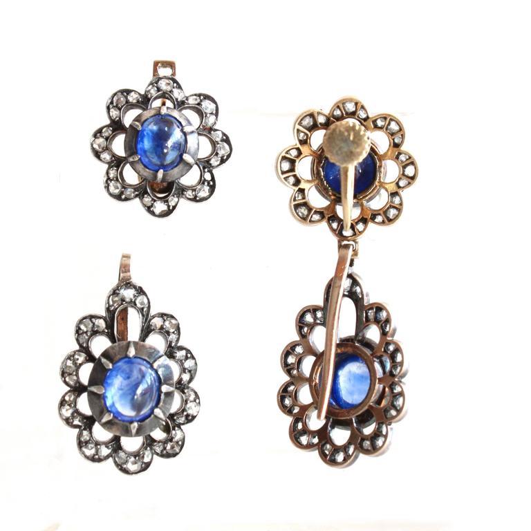 Women's Victorian Sapphire Diamond Silver Gold Earrings Pendant Brooch Set For Sale