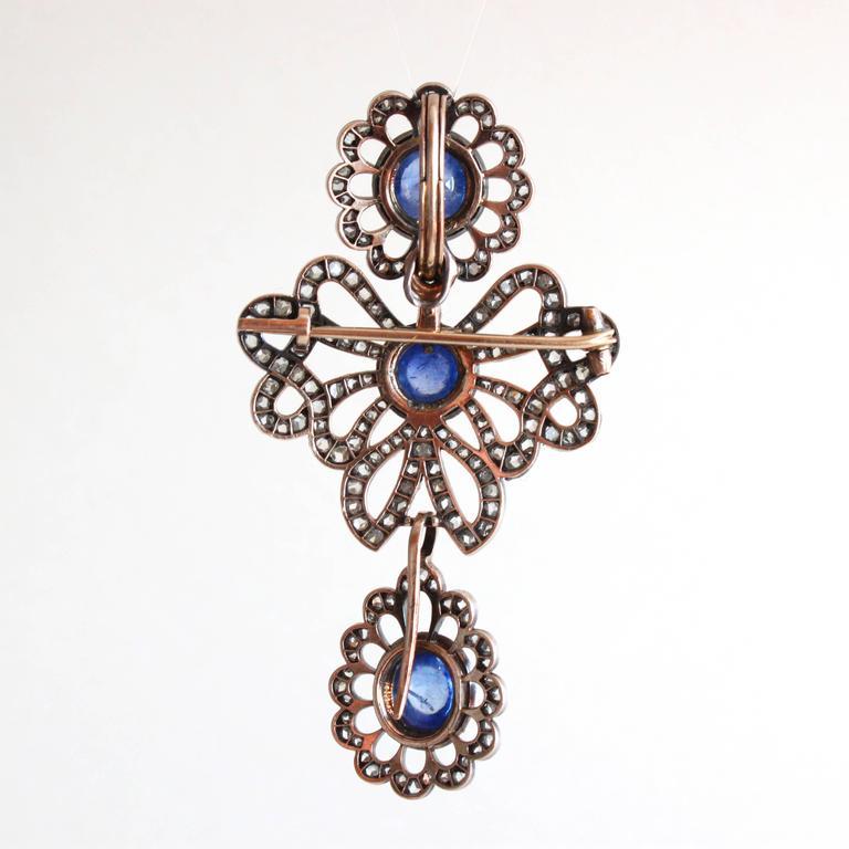 Victorian Sapphire Diamond Silver Gold Earrings Pendant Brooch Set For Sale 1