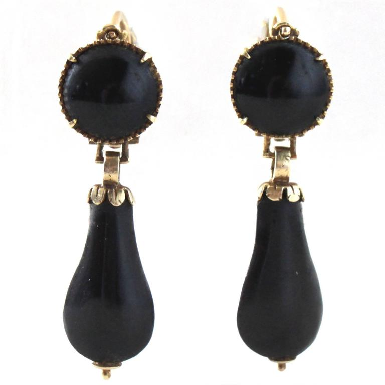 1870s Victorian Onyx Gold Pendant Earrings