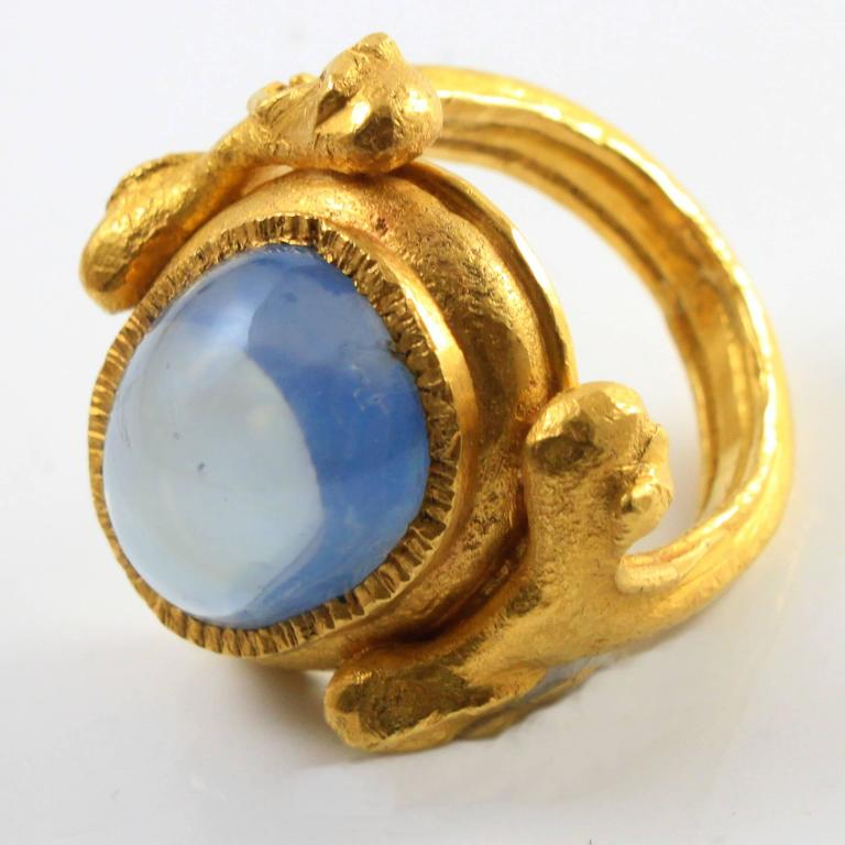 Large Natural Sapphire Artisan Gold Ring by Wolfgang Skoluda 2