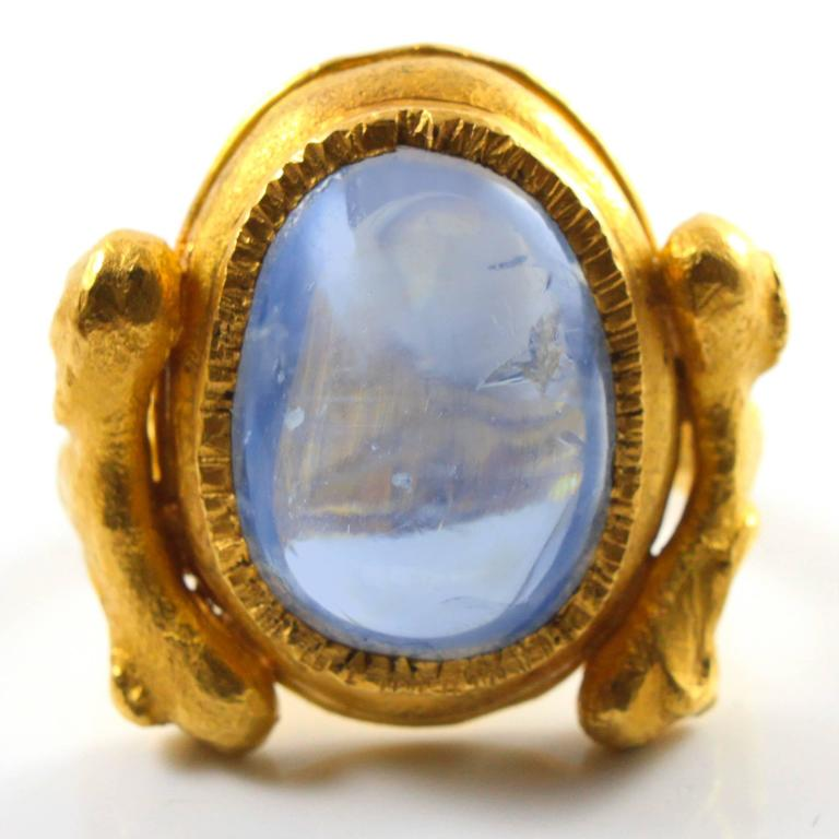 Large Natural Sapphire Artisan Gold Ring by Wolfgang Skoluda 3