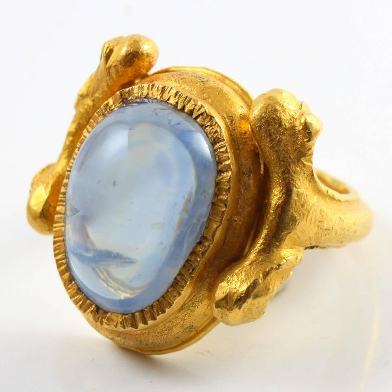 Large Natural Sapphire Artisan Gold Ring by Wolfgang Skoluda 4