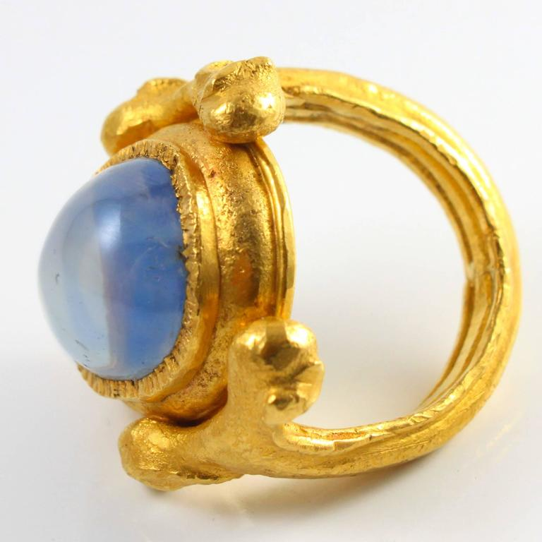 Large Natural Sapphire Artisan Gold Ring by Wolfgang Skoluda 5