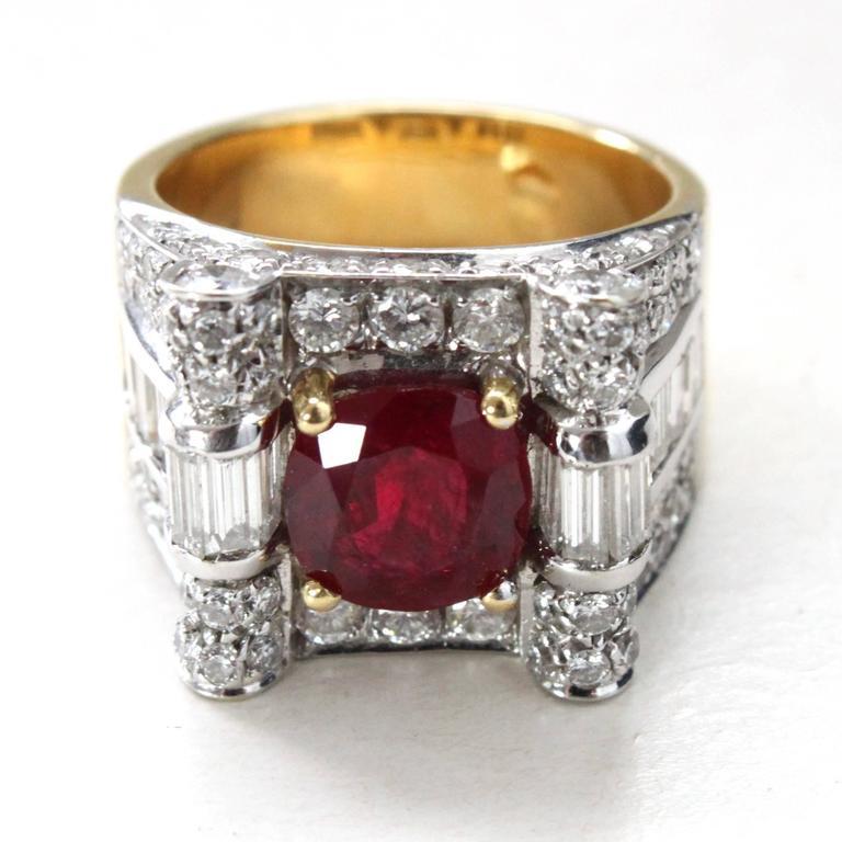 Retro Ruby Diamond Cocktail Ring 2
