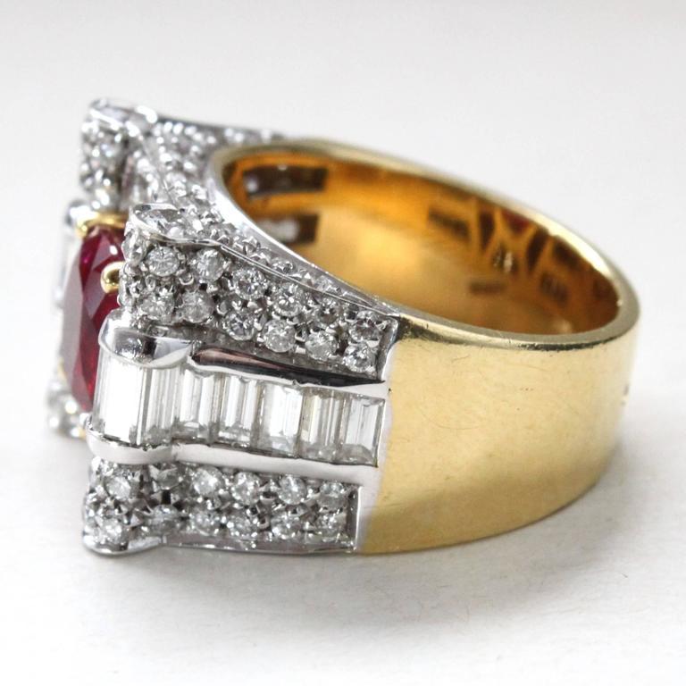 Retro Ruby Diamond Cocktail Ring 3