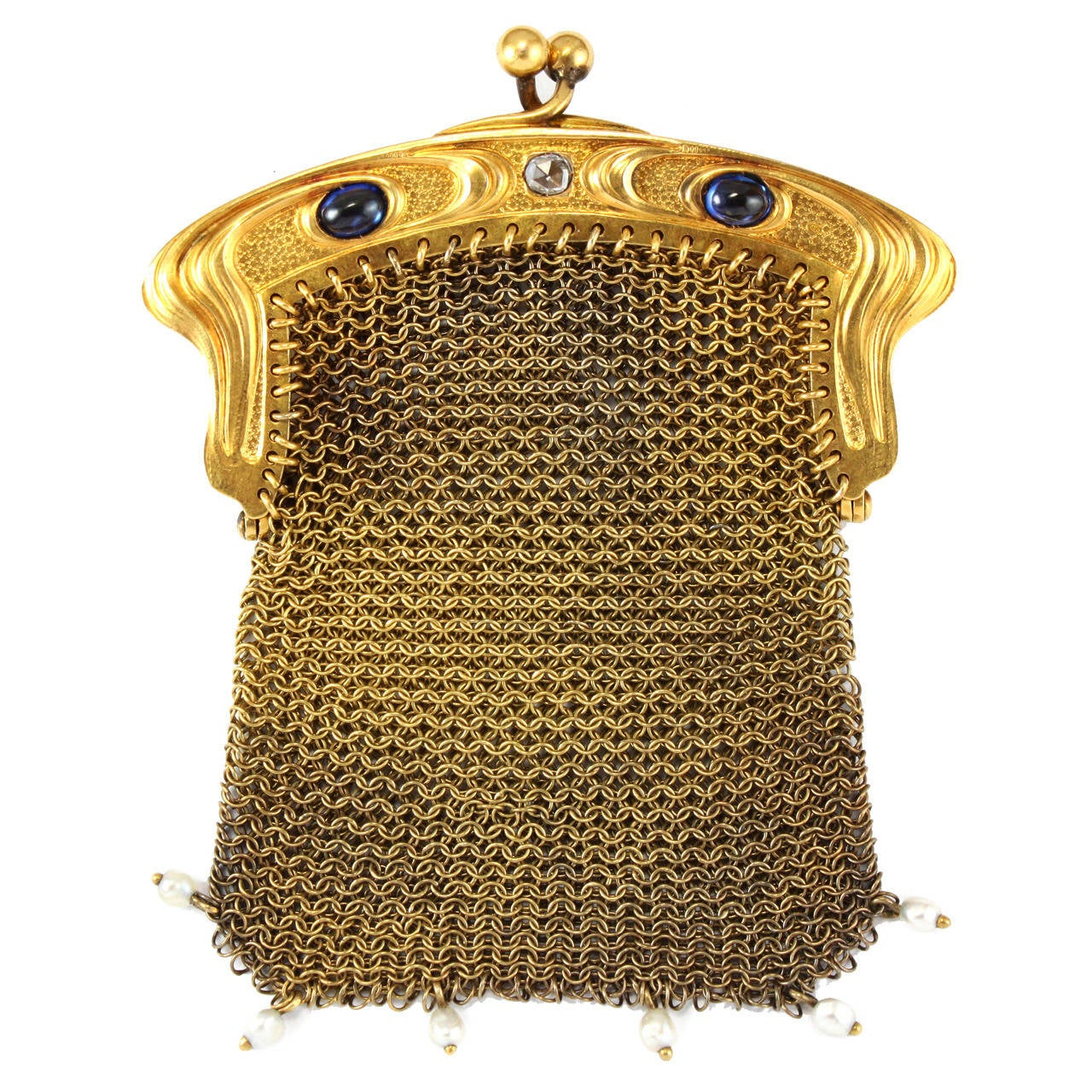Art Nouveau Gold Mesh Bag 1900