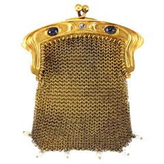 Art Nouveau 15K Gold Mesh Bag 1900