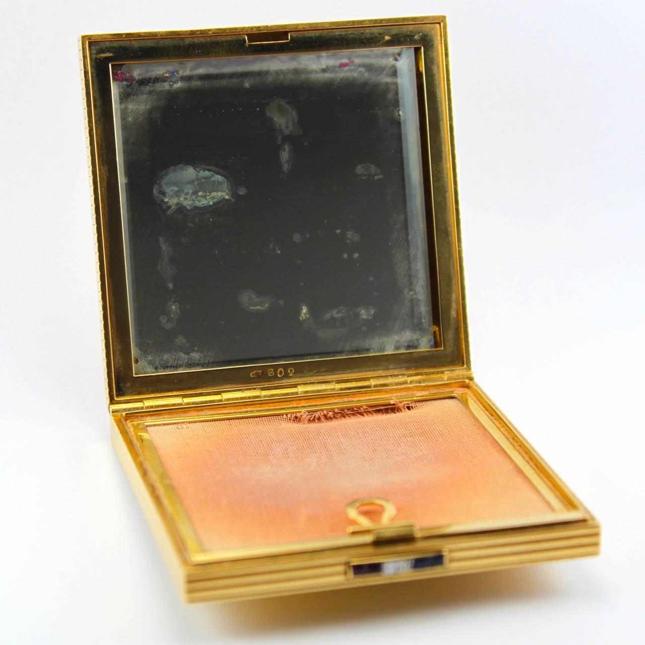 1950s Faraone Ruby Sapphire Diamond 18 Karat Gold Compact For Sale 4