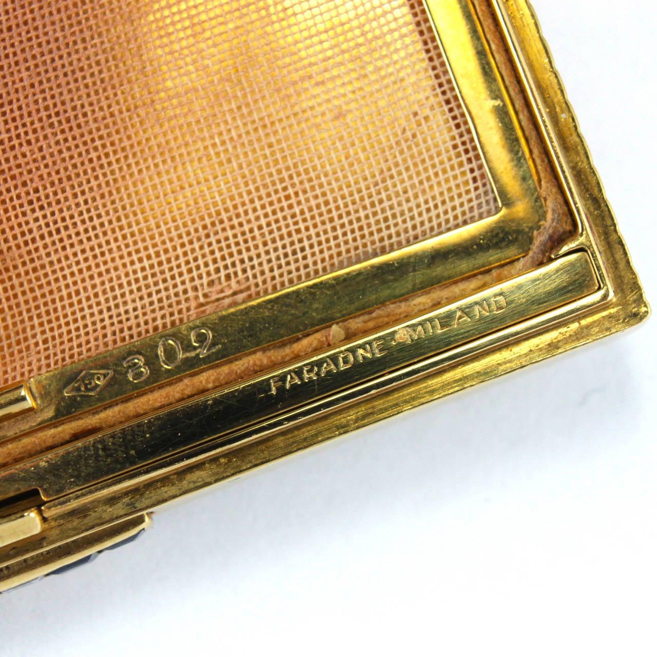 Retro 1950s Faraone Ruby Sapphire Diamond 18 Karat Gold Compact For Sale