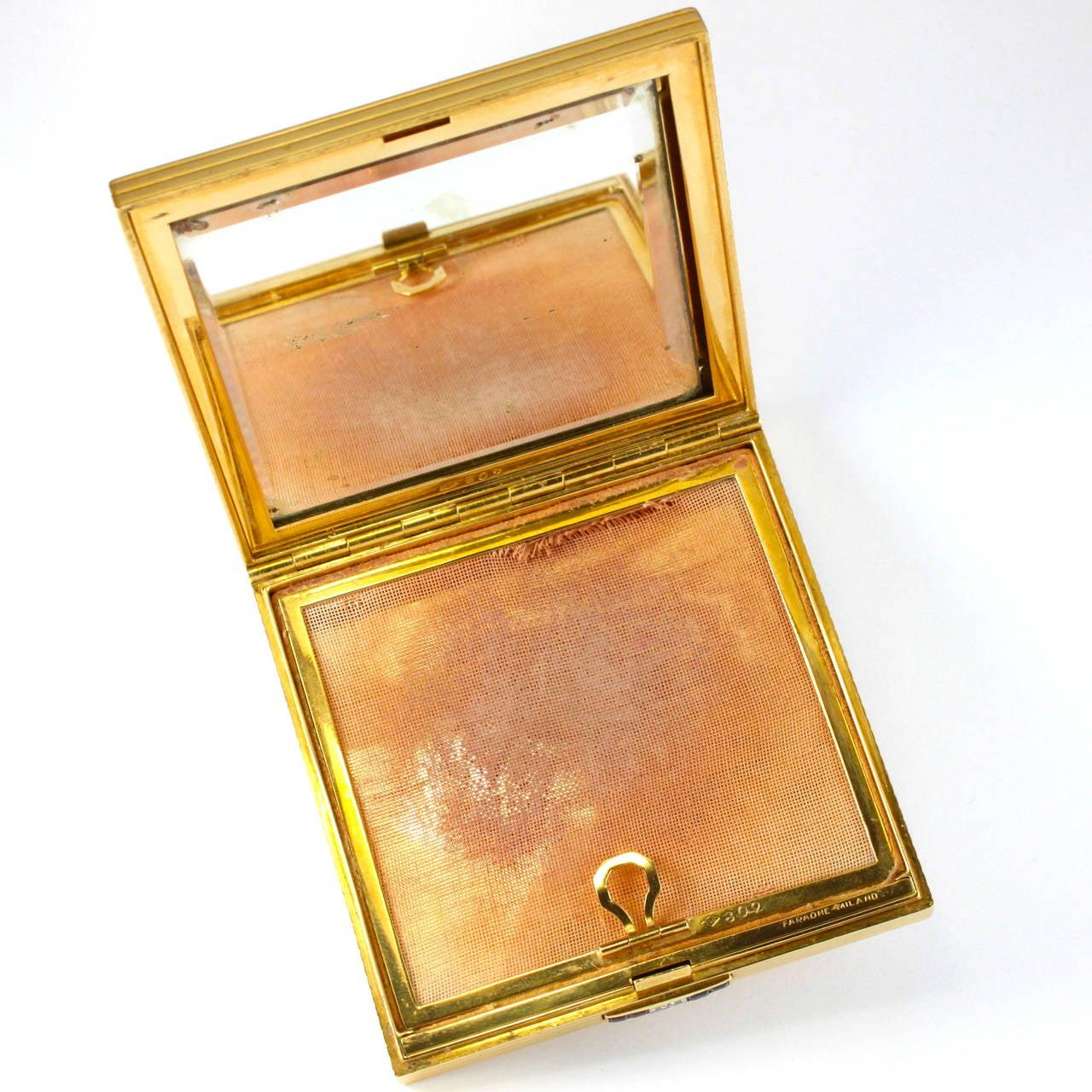 1950s Faraone Ruby Sapphire Diamond 18 Karat Gold Compact In Good Condition For Sale In Idar-Oberstein, DE