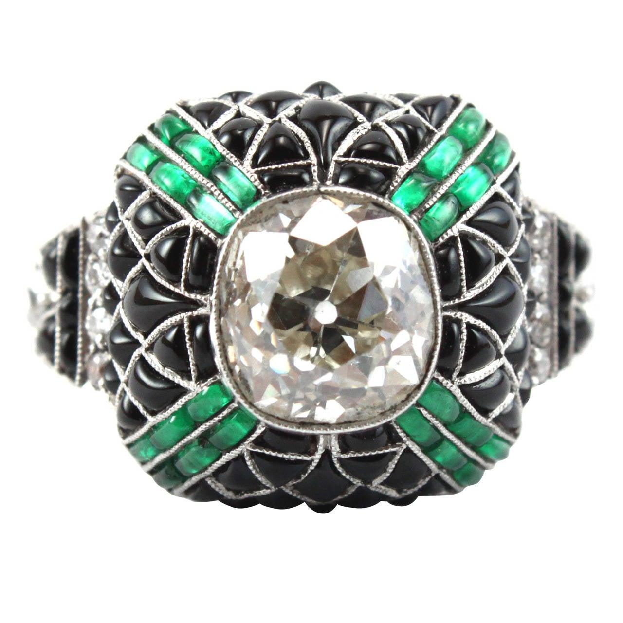 pretty diamond emerald onyx diamond ring at 1stdibs