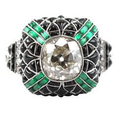 Pretty Diamond Emerald Onyx Diamond Ring