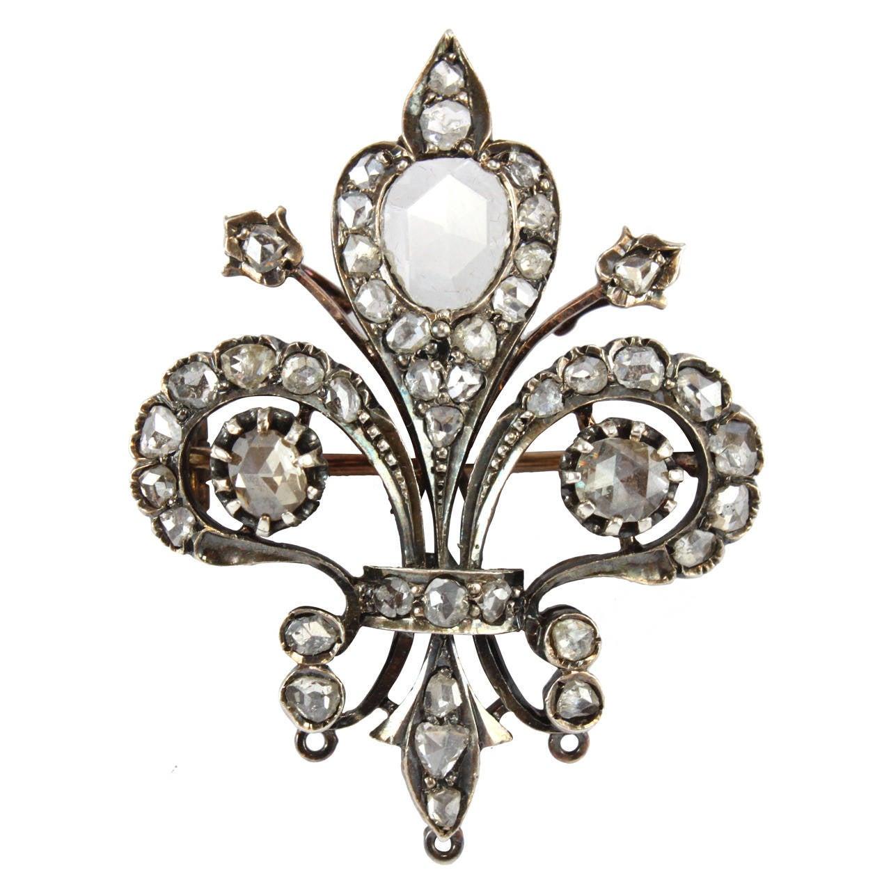 bb6f9abd0f76b Fleur-de-Lys Diamond Silver Gold Brooch 1880s