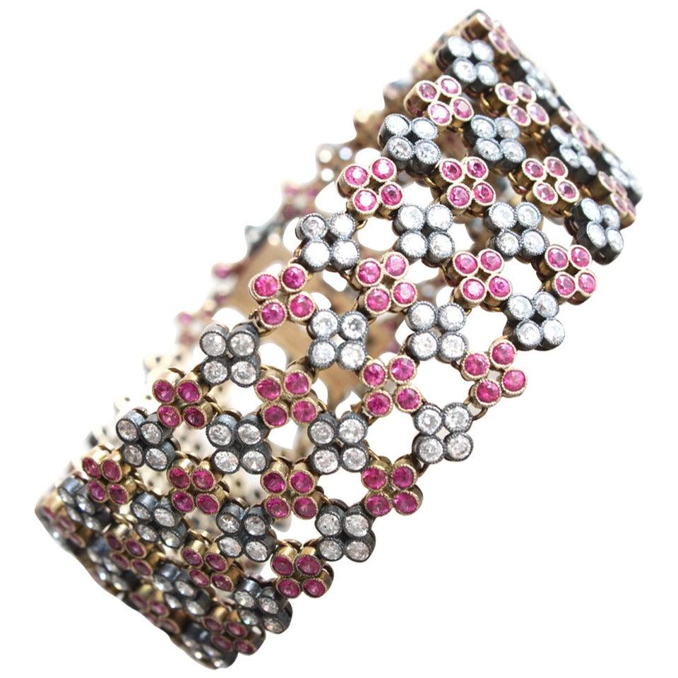 Ruby Diamond Gold Quatrefoil Cluster Bracelet