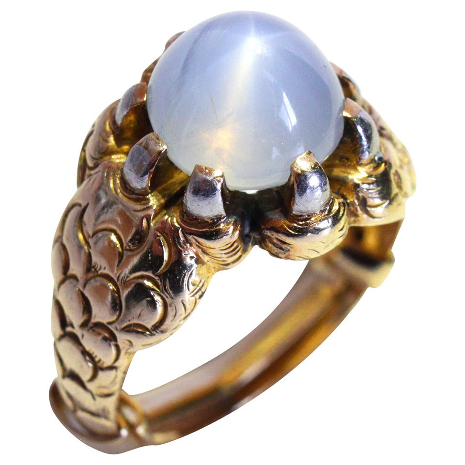 Star Sapphire Gold Claw Ring For Sale