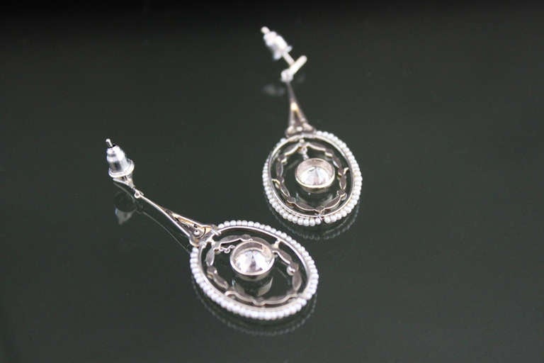 Belle Époque Belle Epoque Seed Pearl Diamond Earrings For Sale