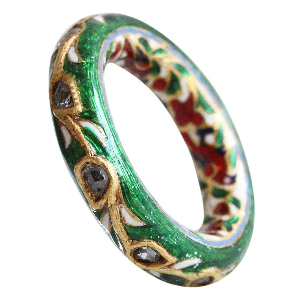 Rare Mughal Enamel Diamond Gold Band Ring At 1stdibs
