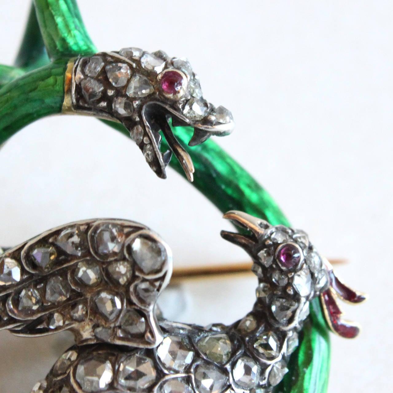 Victorian Enamel Diamond Ruby Snake and Phoenix Brooch Pendant 2