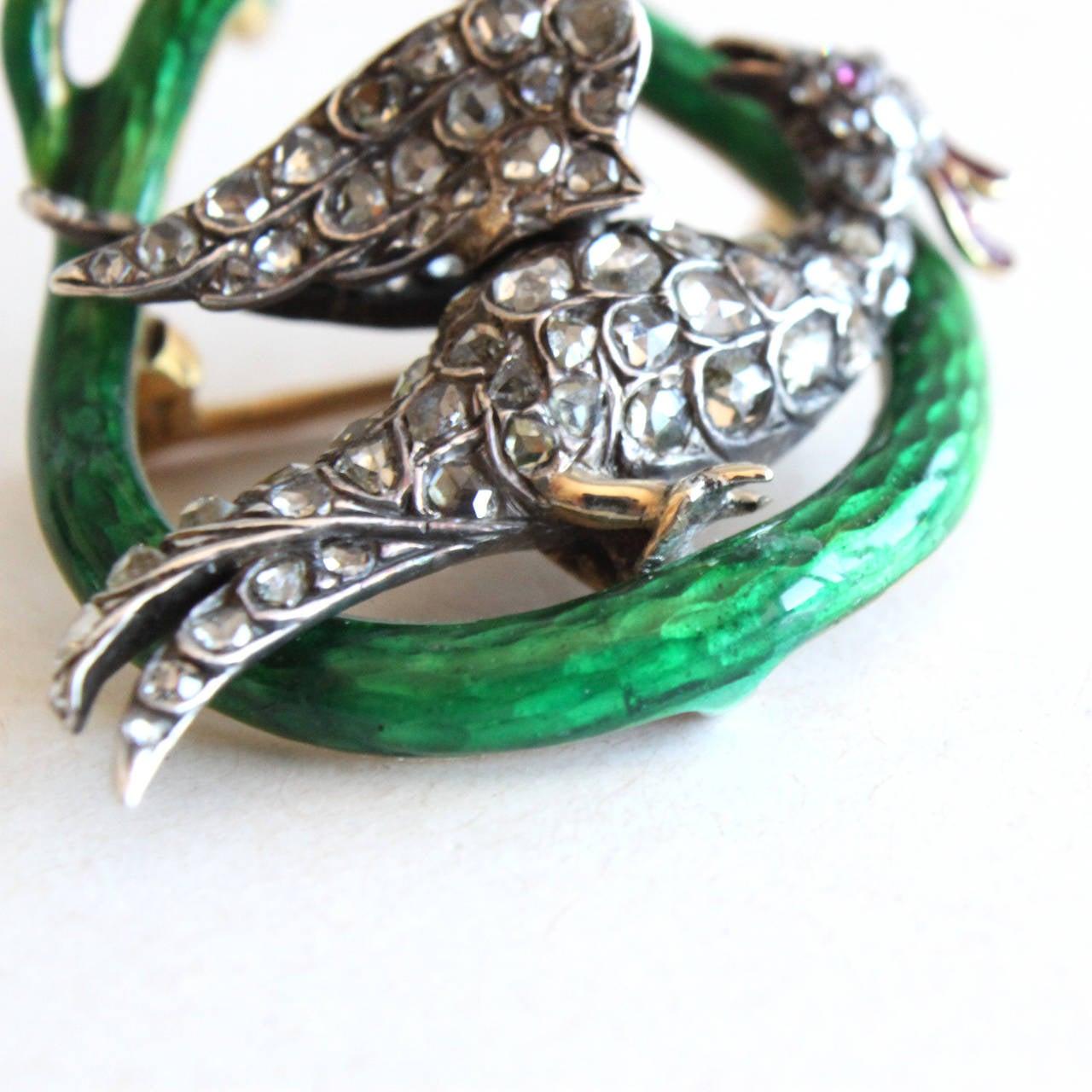Victorian Enamel Diamond Ruby Snake and Phoenix Brooch Pendant 3