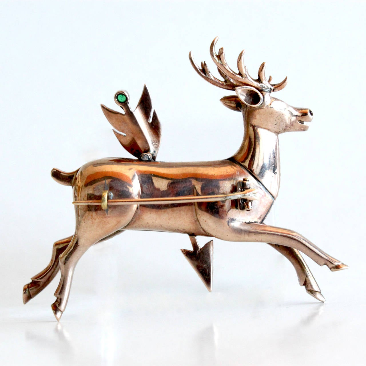 1870s Antique Diamond Deer Stag and Arrow Brooch 2