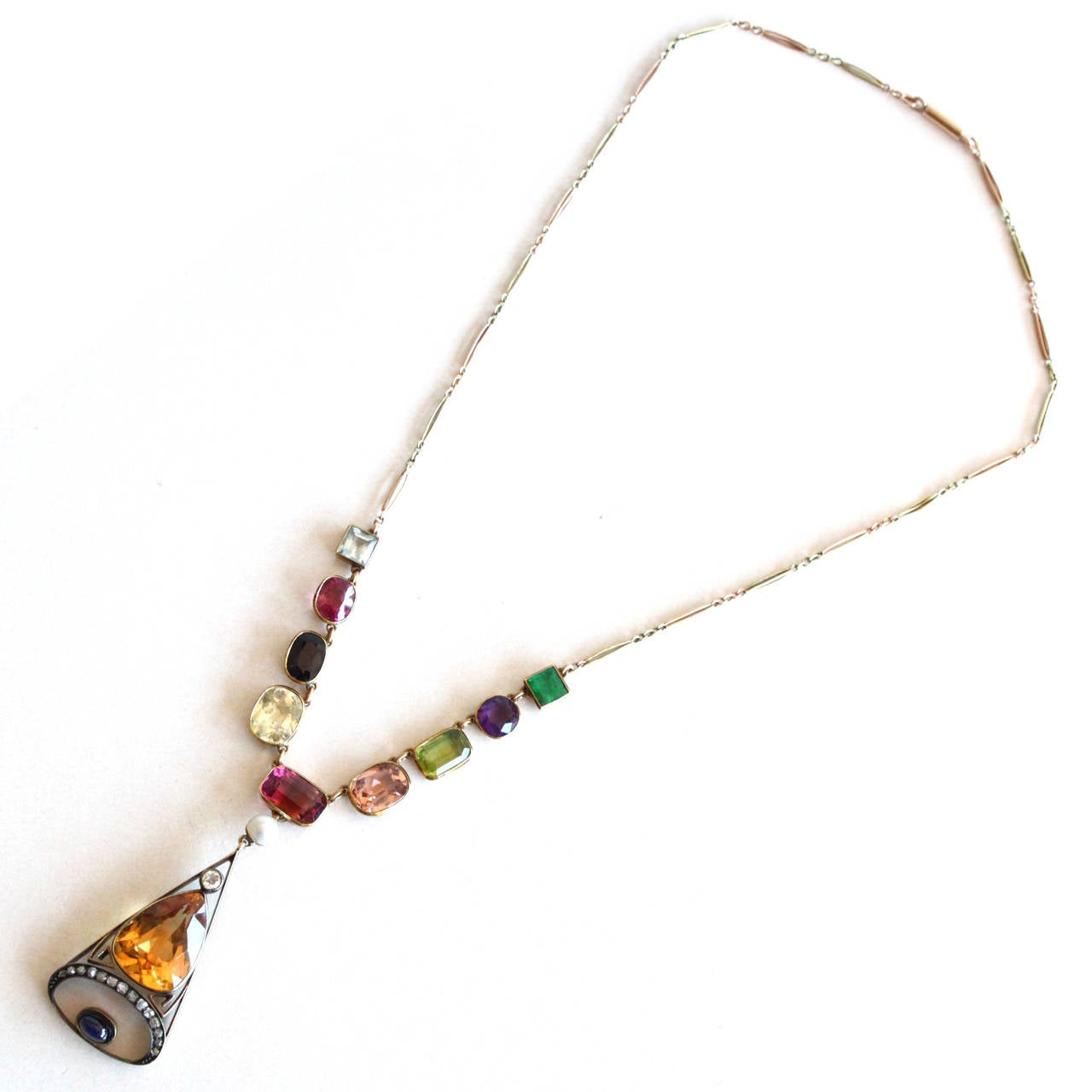1890s Russian Multi Gemstone Gold Necklace For Sale 5
