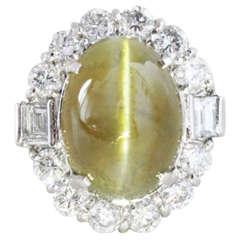 1930s Art Deco Cats Eye and Diamond Ring