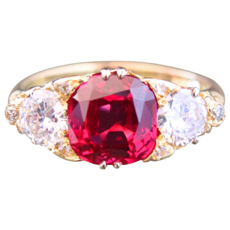 Victorian Spinel Diamond gold Five Stone Ring For Sale