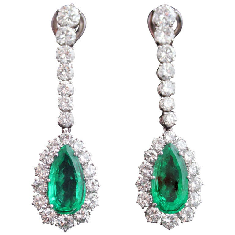 Emerald Drop and Diamond Earrings For Sale