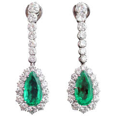 Emerald Diamond Gold Pendant Earrings