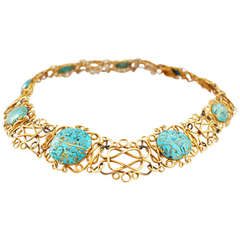 Antique Inlaid Turquoise Gold Wire Choker Necklace