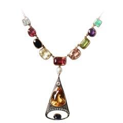 1890s Russian Multi Gemstone 15 Karat Gold Necklace
