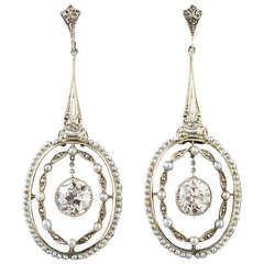Belle Epoque Seed Pearl Diamond Earrings