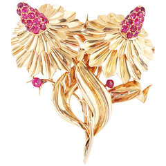Mellerio Ruby Gold Flower Double Clip Brooch