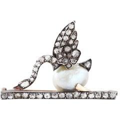 Victorian Natural Pearl Diamond Swan Brooch