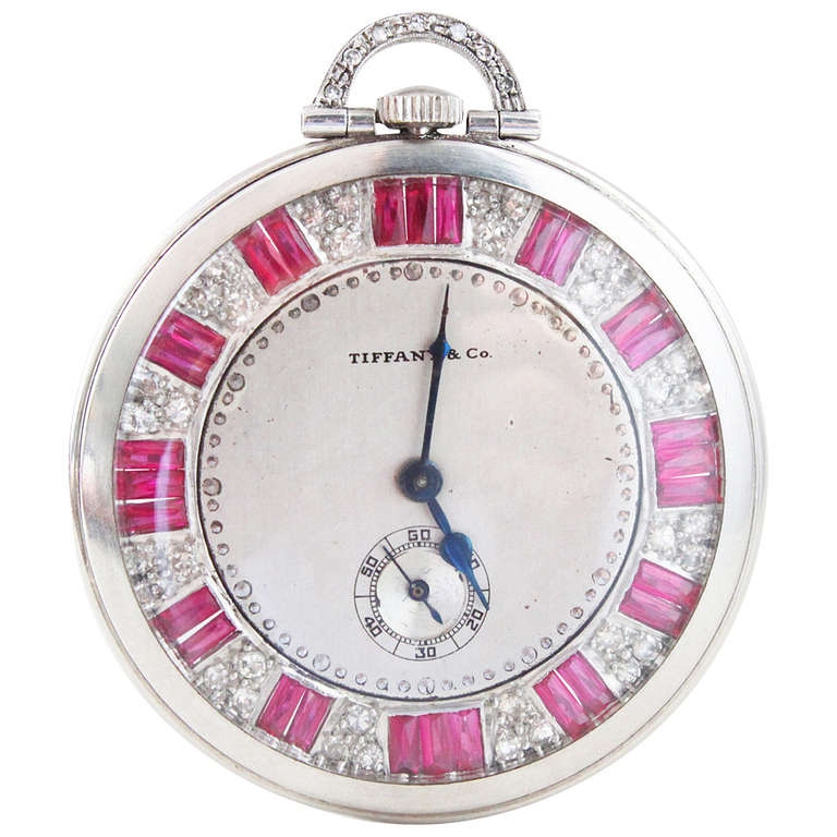 1920s Tiffany and Co. Ruby Diamond Platinum Pocket Watch ...