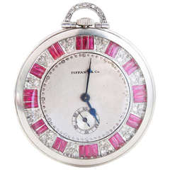 1920s Tiffany & Co. Ruby Diamond Platinum Pocket Watch