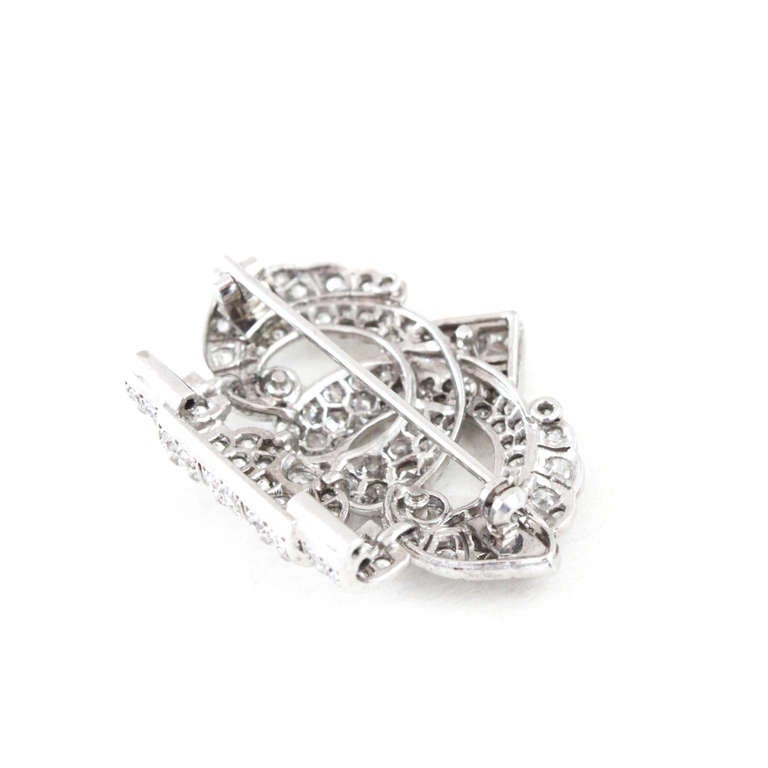 Women's or Men's Cartier Art Deco Diamond Platinum Brooch For Sale