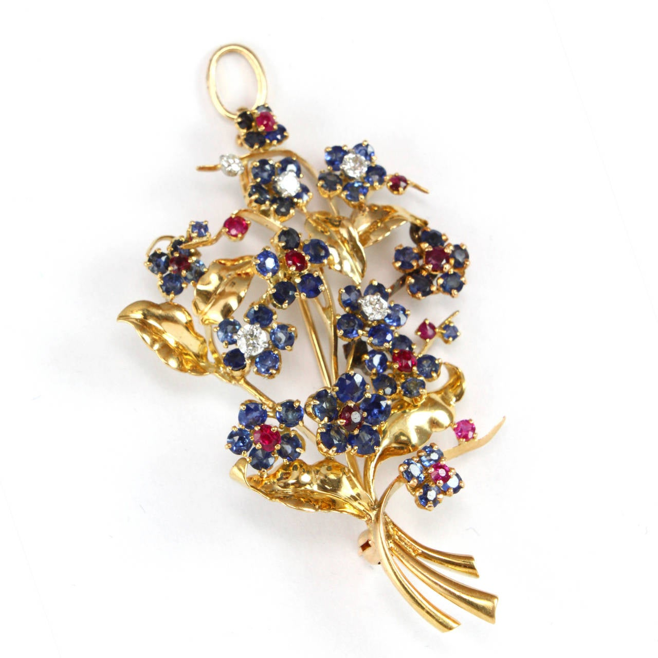 Women's 1948 Mauboussin Ruby Sapphire Diamond Flower Brooch or Pendant For Sale