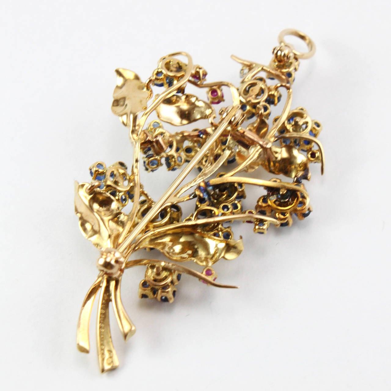 1948 Mauboussin Ruby Sapphire Diamond Flower Brooch or Pendant 4