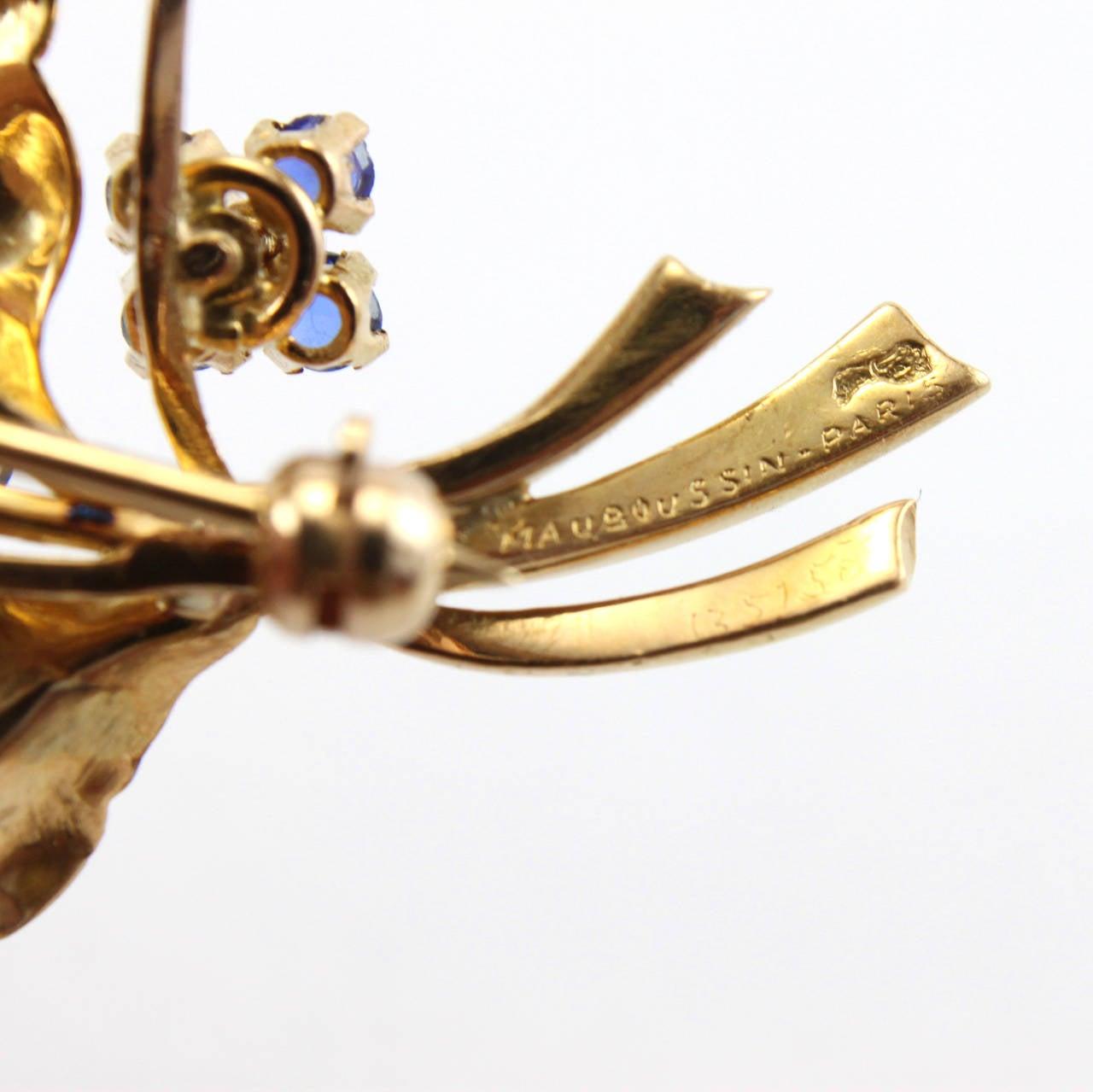 1948 Mauboussin Ruby Sapphire Diamond Flower Brooch or Pendant 3