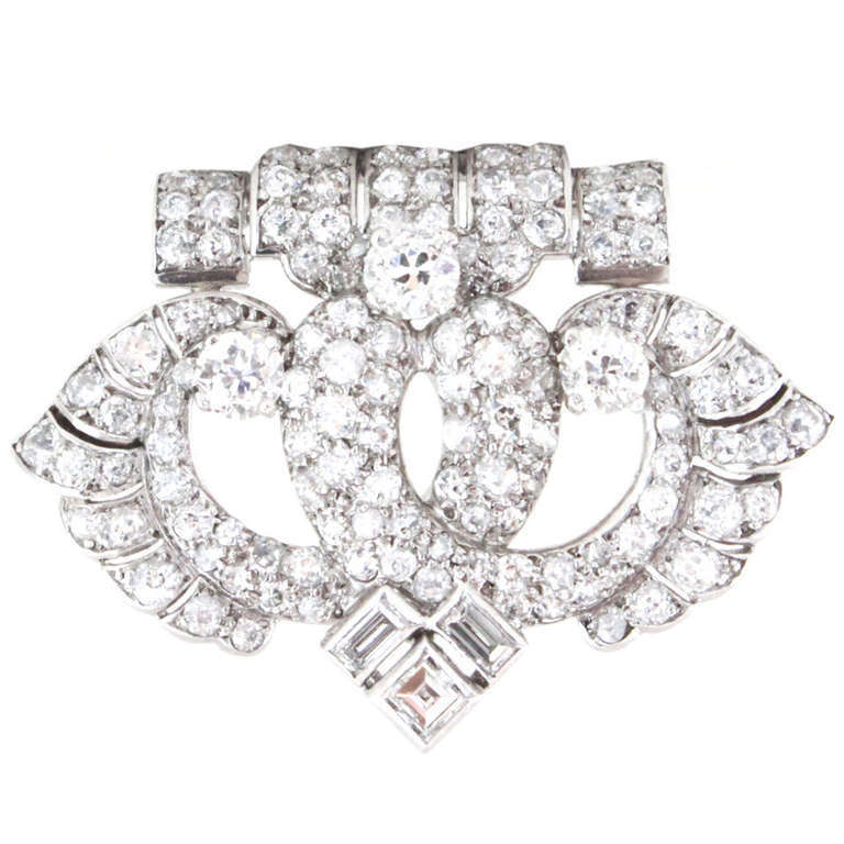 Cartier Art Deco Diamond Platinum Brooch For Sale