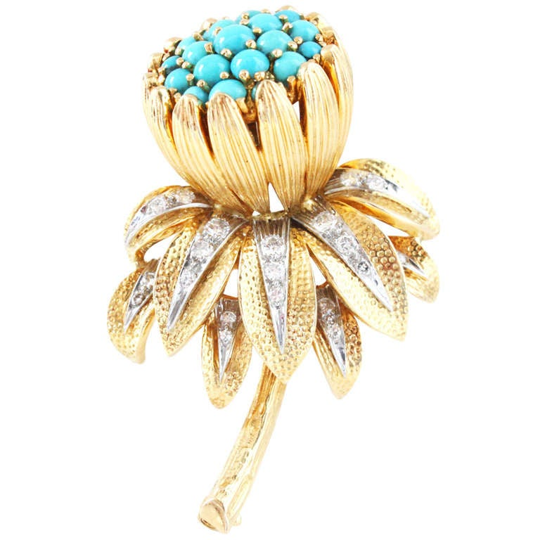 afd71b3bff9f7 Kutchinsky Turquoise Diamond Gold Flower Brooch