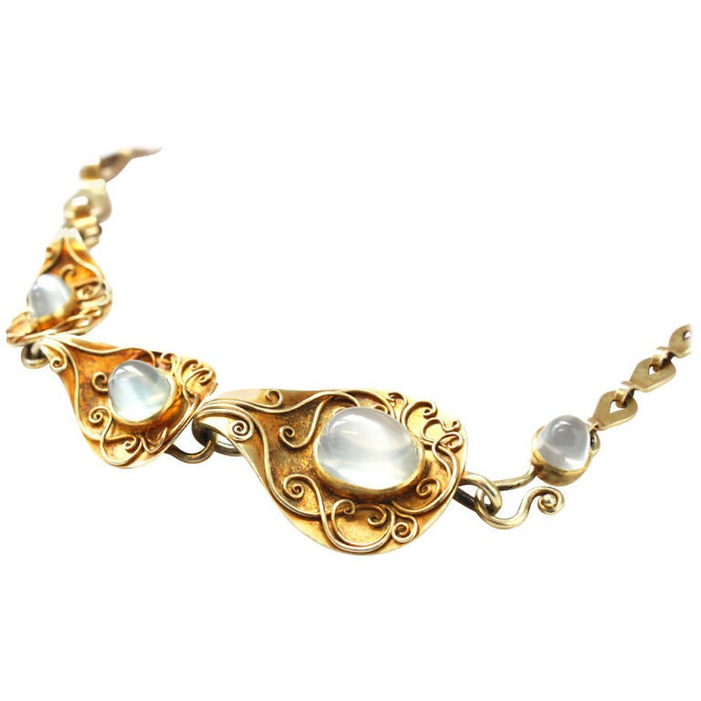 Rare 1930s Elisabeth Treskow Moonstone Gold Necklace 1