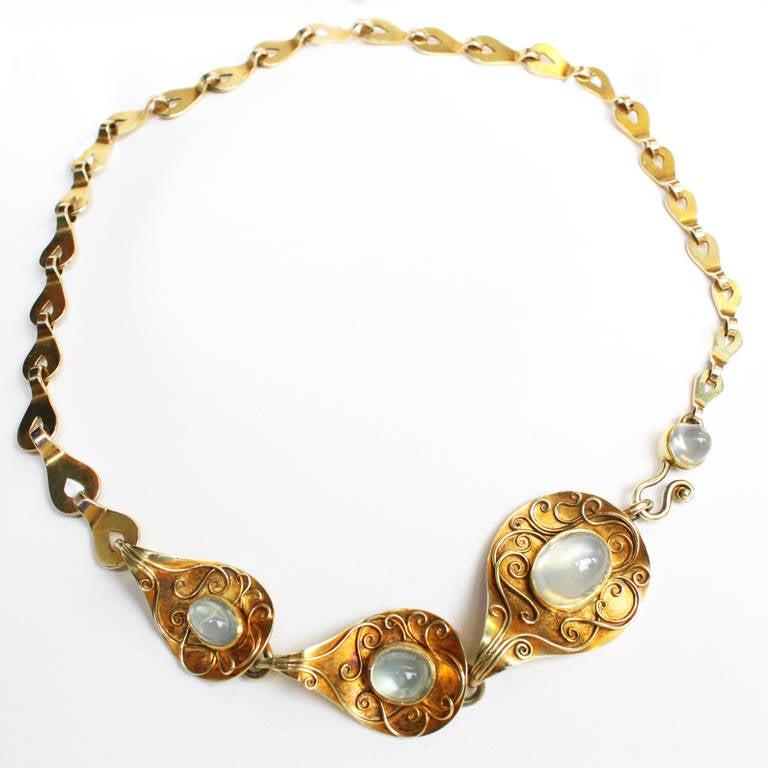 Rare 1930s Elisabeth Treskow Moonstone Gold Necklace 2
