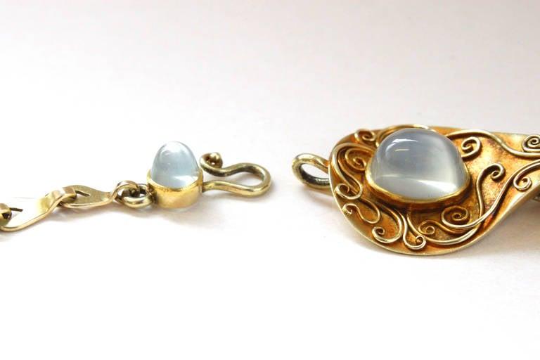 Rare 1930s Elisabeth Treskow Moonstone Gold Necklace 5