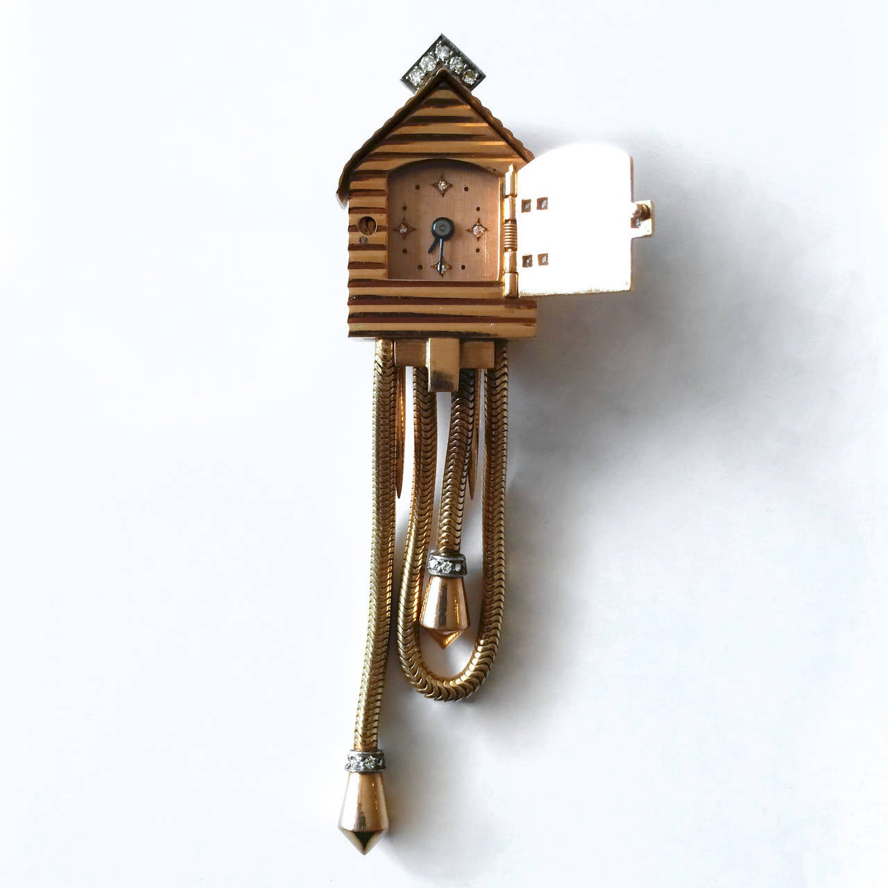Uti cuckoo lapel pin watch 1940s at 1stdibs - Cuckoo watches ...